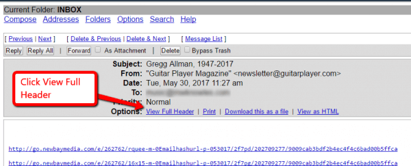 Screenshot of the Squirrelmail email interface