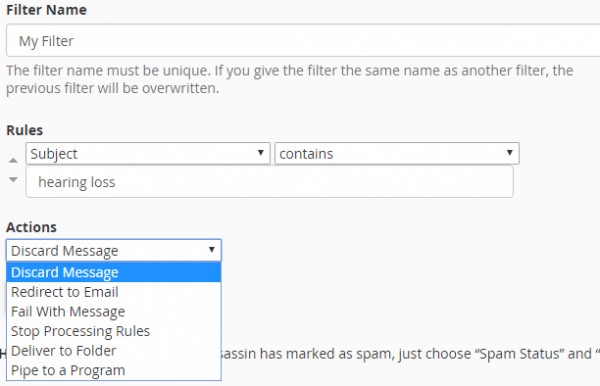 Email Filters in cPanel