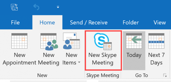 New Skype Meeting button